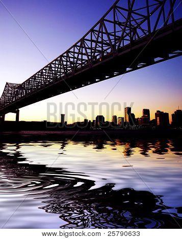 Historical Landmark Crescent City Connection Bridge In New Orleans Louisiana
