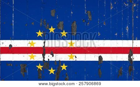 National Flag Of Cape Verde On The Background Of An Old Mettale Covered With Peeling Paint