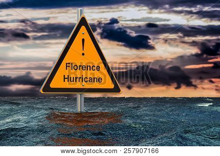 Hurricane Florence, Flood Concept. Road Sign In Water. 3d Rendering
