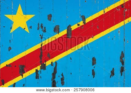 National Flag Of Democratic Republic Of The Congo On The Background Of An Old Mettale Covered With P