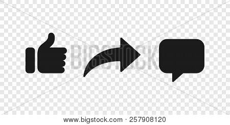 Share, Like And Comment Thumb Up Vector Button Icons For Notification Or Media Repost