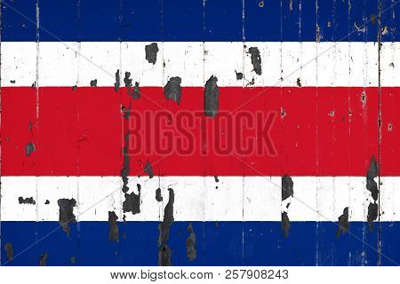 National Flag Of Costa Rica On The Background Of An Old Mettale Covered With Peeling Paint