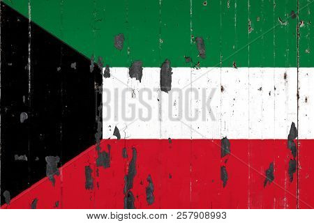 National Flag Of Kuwait On The Background Of An Old Mettale Covered With Peeling Paint