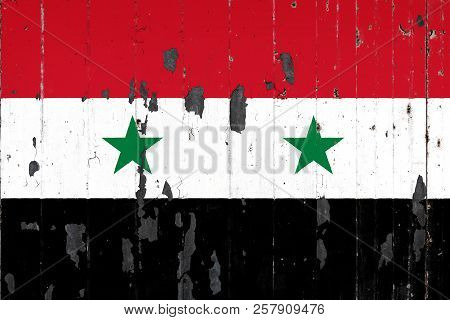 National Flag Of Syria On The Background Of An Old Mettale Covered With Peeling Paint