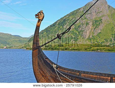 Viking ship with dragon head