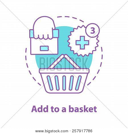 Add To Basket Concept Icon. Online Shopping Idea Thin Line Illustration. Place An Order. Vector Isol