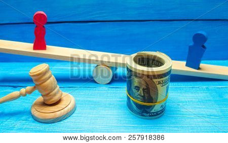 Divorce And Division Of Property By Legal Means. Man And Woman Are Standing On The Scales. Trial, Co