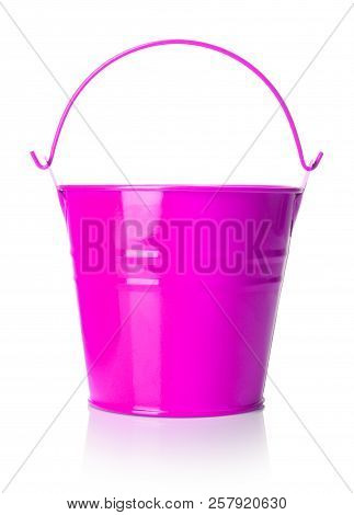 Close-up View Of Pink Bucket On White Background