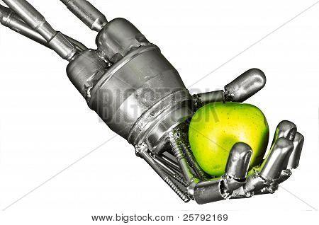 Roboter-Hand mit grüne Frucht auf weißem hintergrund isoliert
