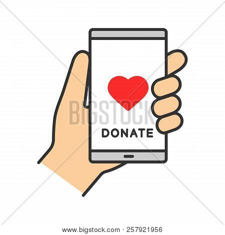 Smartphone Donation App Color Icon. Digital Charity. Online Fundraising. Making Donation Using Mobil