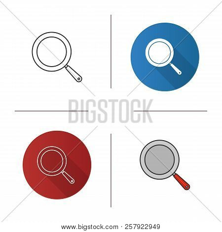 Frying Pan Icon. Frypan. Flat Design, Linear And Color Styles. Isolated Vector Illustrations