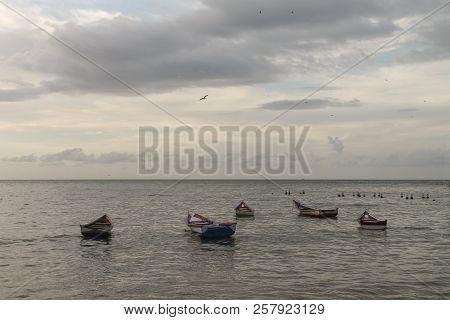 Boats Anchored Off The Coast Of Rio Caribe, Venezuela