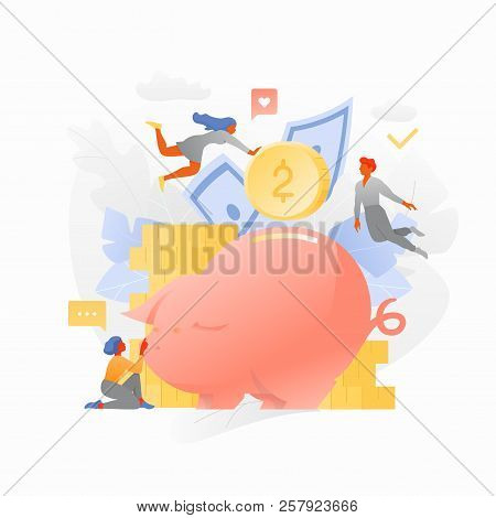Tiny People Characters Around Big Piggy Bank With Coins And Paper Money Isolated On White Background