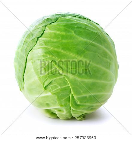 Raw Head Of Cabbage Isolated On White Background