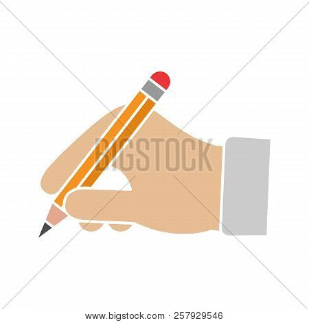 Hand Holding Pencil Glyph Color Icon. Handwriting. Drawing. Taking Notes. Silhouette Symbol On White