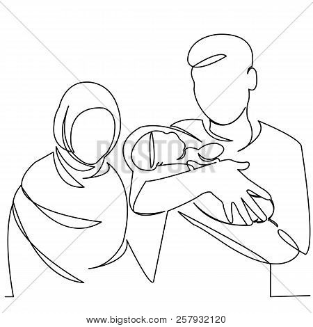 Continuous Single Drawn One-line Muslim Family With Newborn On Hand Hand-drawn Picture Silhouette. L