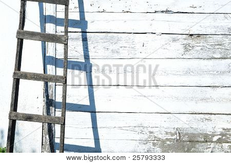 Old Wooden Staircase And Wall