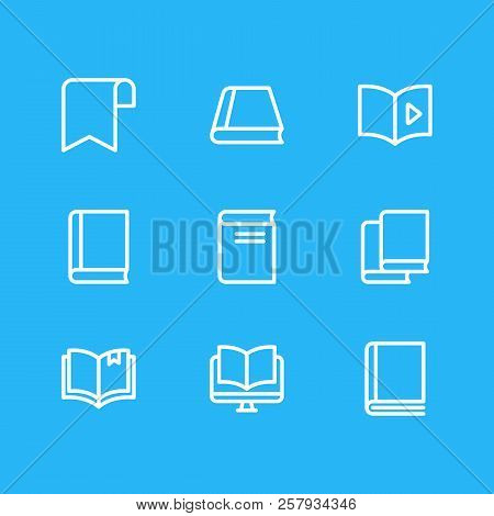 Illustration Of 9 Education Icons Line Style. Editable Set Of Audio Book, Ribbon, Ebook And Other Ic