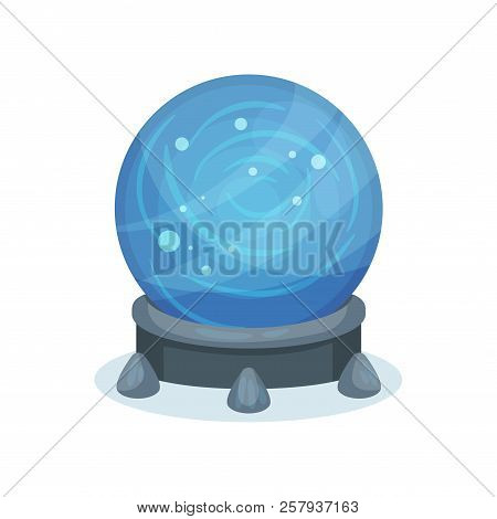 Big Blue Magic Ball On Gray Stand. Crystal Sphere With Sparkles Inside. Flat Vector For Mobile Game