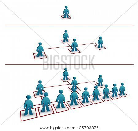 three part business network progress illustration