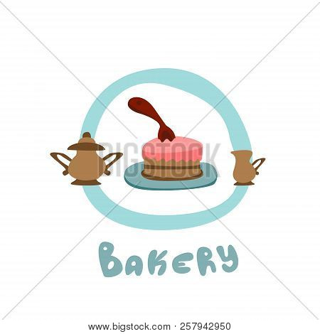 Logo Of A Small Bakery On The Corner. A Small Cake, A Brewer And A Mug With Milk. Everything For A C