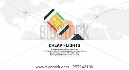 Cheap Flights. The Concept Of Travel. Vector Flat.