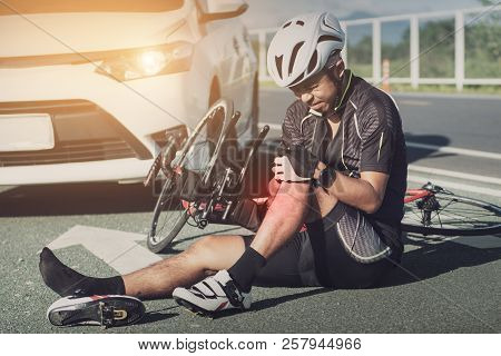 Accident Car Crash With Bicycle On Road, Asia Cyclist Injured On The Street Bike After Collision Acc