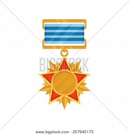 Bright Golden Medal In Star Shape. Army Reward With Blue Striped Ribbon. Reward For Honor And Braver