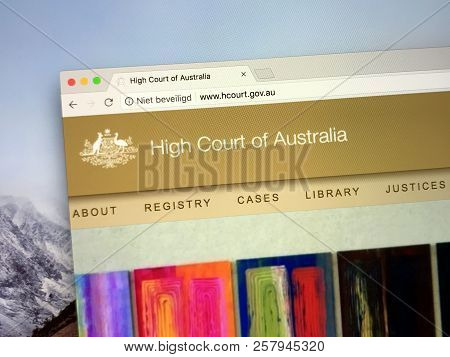 Amsterdam, The Netherlands - September 12, 2018: Website Of The High Court Of Australia, The Supreme