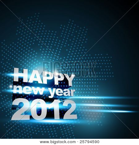 stylish blue color happy new year background