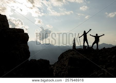 Successful Climbers, Compass And Active Steps;summit Success