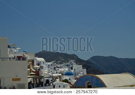 Endless Line Of Houses On Mountain Summit In Oia On Santorini Island. Architecture, Landscapes, Trav