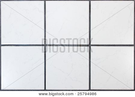 Six white kitchen tiles with dark joints poster