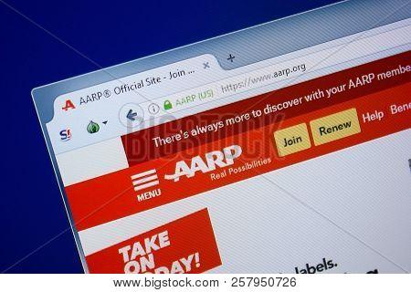 Ryazan, Russia - September 09, 2018: Homepage Of Aarp Website On The Display Of Pc, Url - Aarp.org.