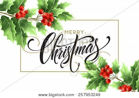 Merry Christmas Lettering In Rectangular Frame. Xmas Calligraphy With Realistic Green Mistletoe Bran