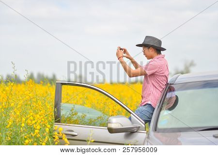 Travel Of Photographer Woman,take Photo With Smartphone.people Side View,young Traveler Girl Driving