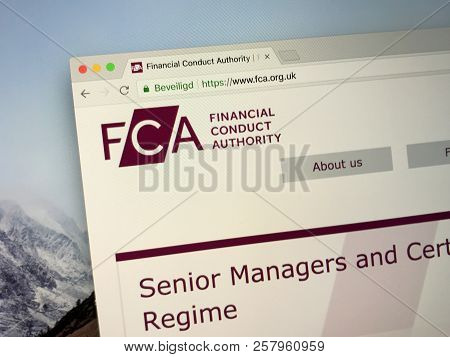 Amsterdam, The Netherlands -september 12, 2018: Website Of The Financial Conduct Authority Or Fca, A