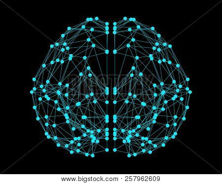 Human Brain Icon Isolated On Black Background In The Form Of Artificial Intelligence For Computer Di