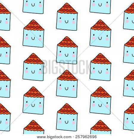 Tiny Houses Seamless Pattern On White Font