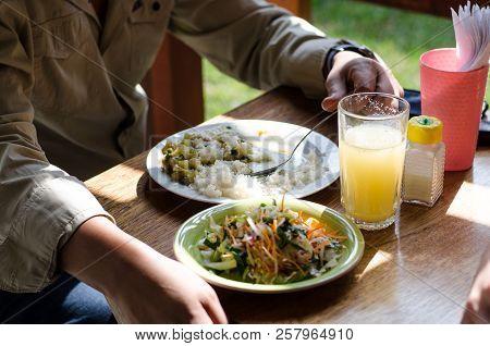 Delicious Homemade Food, Cau Cau With Rice And Salad