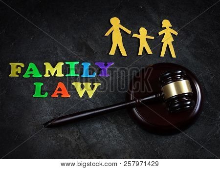 Paper Family Of Three With Legal Gavel And  Family Law Letters