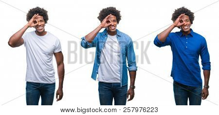 Collage of african american young shirtless man and business man over isolated background doing ok gesture with hand smiling, eye looking through fingers with happy face.