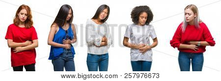 Collage of group of beautiful Chinese, asian, african american, caucasian women over isolated background with hand on stomach because nausea, painful disease feeling unwell. Ache concept.