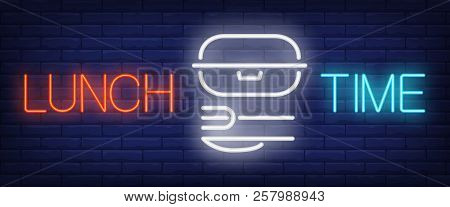 Lunch Time Sign In Neon Style. Red And Blue Lettering With Lunch Box, Fork And Knife. Night Bright A