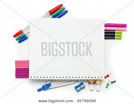 Office supplies on white background.
