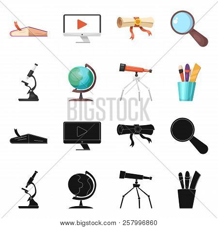 Isolated Object Of Education And Learning Symbol. Collection Of Education And School Vector Icon For
