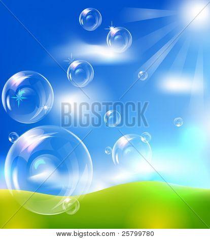 EPS10 vector realistic bubbles against blue sky background.