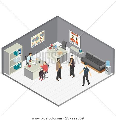 Law Justice Detectives Office Isometric Composition With Crime Case Investigators  Interview Witness