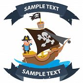 Ship with black sails. Pirate frigate with ribbon banner. Pictures on a naval theme. poster