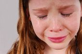 Young girl upset, crying with tears poster